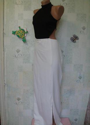 Чёрная пятница эффектное секси платье в пол с открытой спинкой/длинное/под горло 46-48 рр