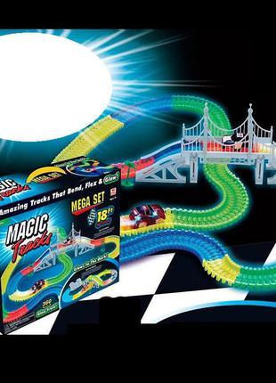 Гоночный автотрек с гнущейся трассой и двумя светящимися машинками fyd 170209 а (360 деталей)