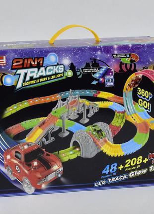 Неоновый автотрек с мостом и мертвой петлей в комплекте машинки с подсветкой fyd 170238, (269 детале