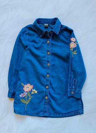 Tu стильное джинсовое  платье на девочку 4 года