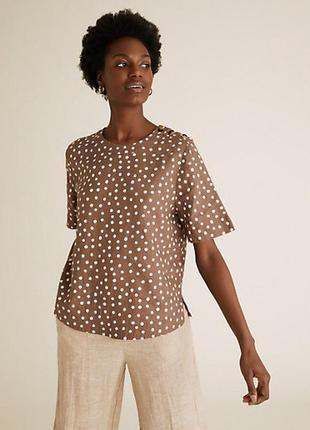 Льняная блуза  в горошек