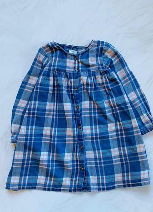 Next  стильное фланелевое  платье на девочку 3-4 года
