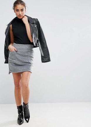 Очень теплая серая шерстяная мини юбка из шерсти