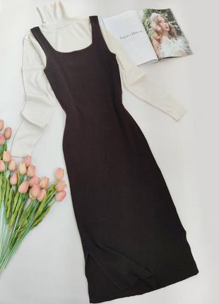 Тепле плаття сарафан міді шоколадного кольору від h&m розмір м