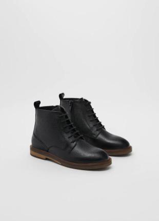 Шкіряні черевики, р.40, zara, іспанія / ботинки