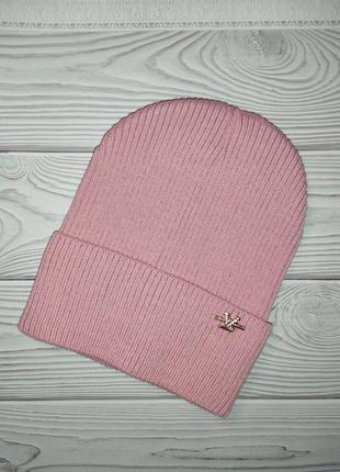 Шапка розовая осенняя резинка лопата
