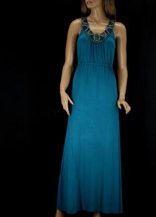 """Новое длинное вискозное платье """"yessica"""" с вышивкой. размер eur 38."""