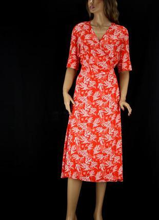 Красивое платье миди на запах tcm tchibo с морским принтом. размер eur 42.