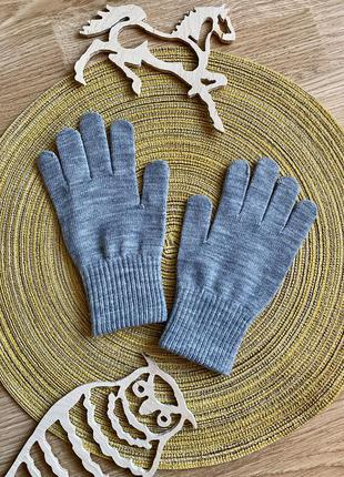Дитячі рукавички, рукавиці, серые перчатки на 9-15 лет h&m
