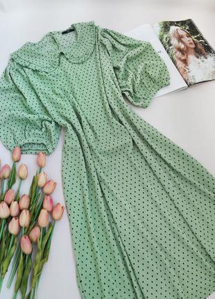 Дуже красиве плаття в горошок з пишними рукавами від george розмір l-xl