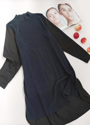 Тепле плаття міді з рубашечними рукавами темно-синє від french connection розмір l-xl