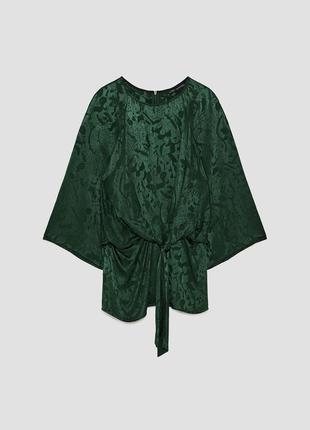 Стильная блуза жаккардовая zara изумрудная
