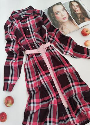 Тепле плаття-сорочка в клітинку з ременем від tu розмір l-xl