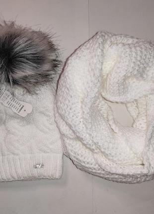 Белоснежный набор в косы шапка хомут