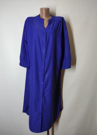 Синее платье-рубашка свободного кроя с рукавом ¾