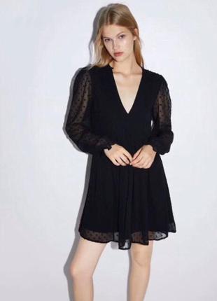 Воздушное шифоновое платье в горошек zara