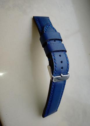 Синий кожаний ремешок для часов