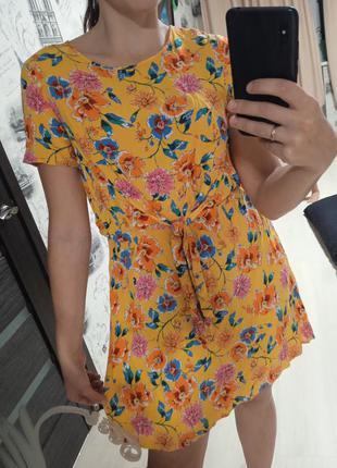 Шикарное оранжевое платье цветочный принт, вискоза