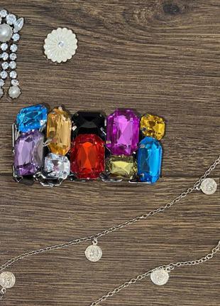 Стильный яркий эффектный массивный цветной браслет из крупных камней