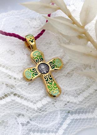 Крестик с горячей эмалью серебро 925 позолота 999 горячая эмаль