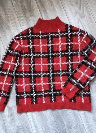 Кофта свитшот свитер в клетку papaya