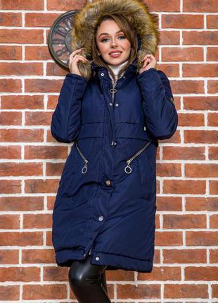 Куртка женская зимняя цвет темно-синий