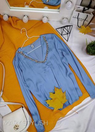 Нежная красивая блузка цвет сине-голубой