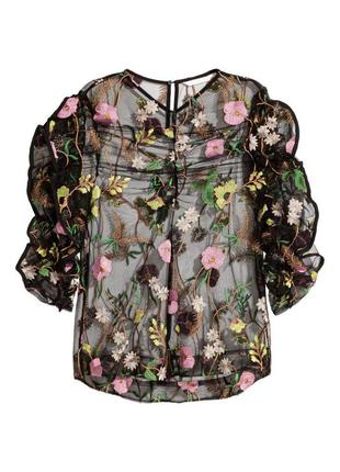 Полупрозрачная блуза топ вышитая h&m