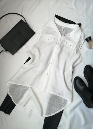 Стильна біла натуральна лляна блузка сорочка на гудзиках італія
