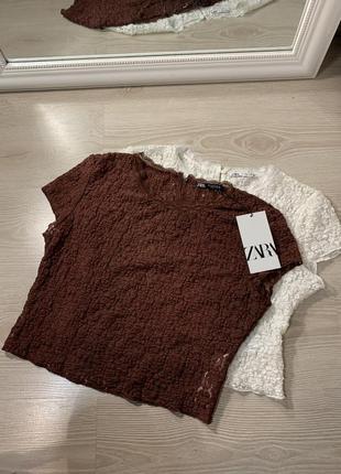 Топы футболки ажурные с кружевом m-l новые