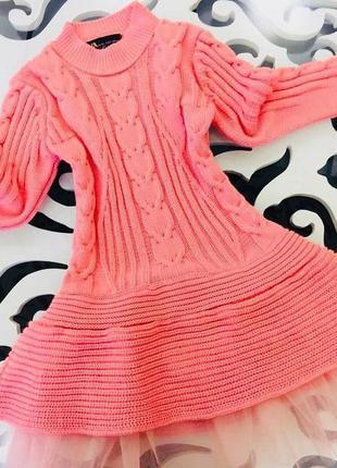 Теплое вязаное платье фатин косички