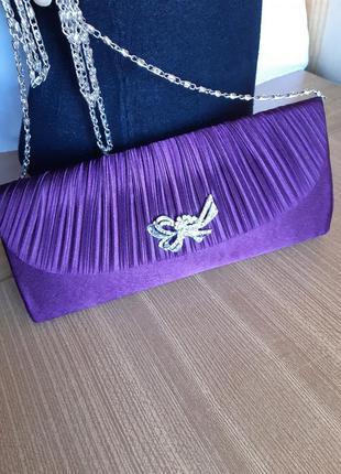 Красивый вечерний клатч - на металлической цепочке, purple/ англия