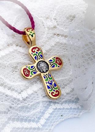 Крест нательный серебряный с горячей эмалью в позолоте