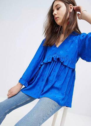 Жаккардовый топ блуза asos с длинными рукавами, оборками и глубоким вырезом