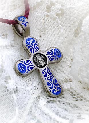Крестик нательный серебряный с горячей эмалью в позолоте
