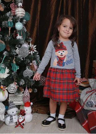 Сукня плаття новорічне в клітинку платье новогоднее в клетку
