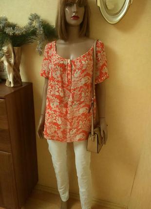 Лёгкая шифоновая цветочная блуза морковного цвета от monsoon
