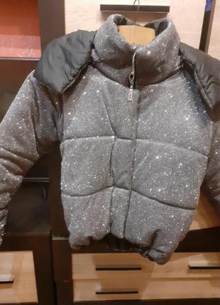 Куртка блестящая голограма пуховик