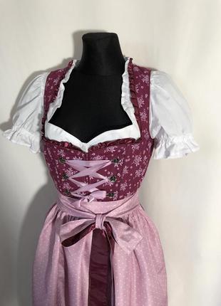 Баварский костюм дирндль розовый бордовый