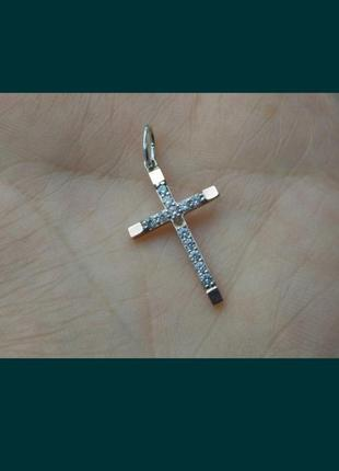 Крестик серебро с золотыми напайками