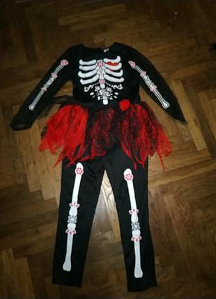 Костюм комбинезон с пачкой скелет санта муэрте на хеллоуин