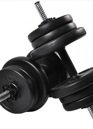 Набор гантелей разборных металлических по 15 кг для тренировок черные