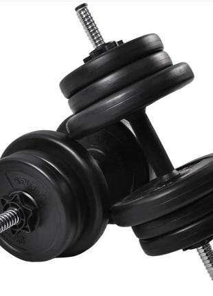 Комплект разборных гантелей на 10 кг для спорта и тренировок черные