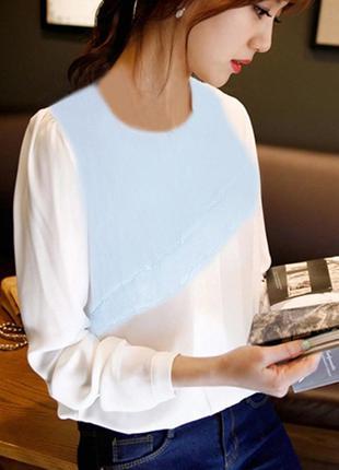 Красивая бело голубая шифоновая блуза topshop