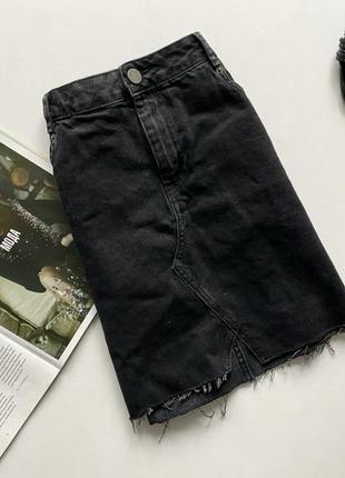 Красивая юбка джинсовая темно серая 14 хл