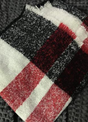 Теплый белые шарф плед в клетку черный красный