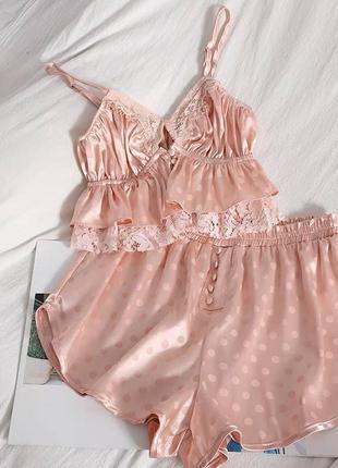 Пижама в горошек пудра шёлк