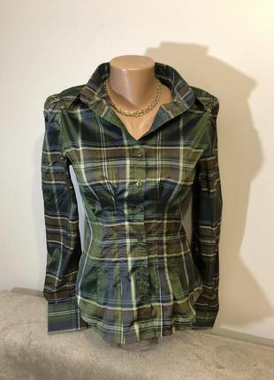 Блуза в клеточку приталенный силуэт zara s/m