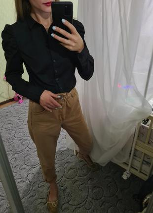 Шикарная хлопковая рубашка, сорочка пышные рукавчики от h&m