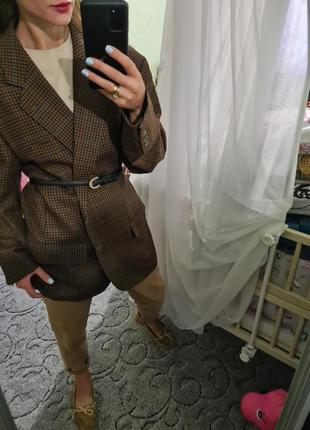 Винтажный шерстяной удлинённый пиджак, жакет оверсайз в клетку с мужского плеча